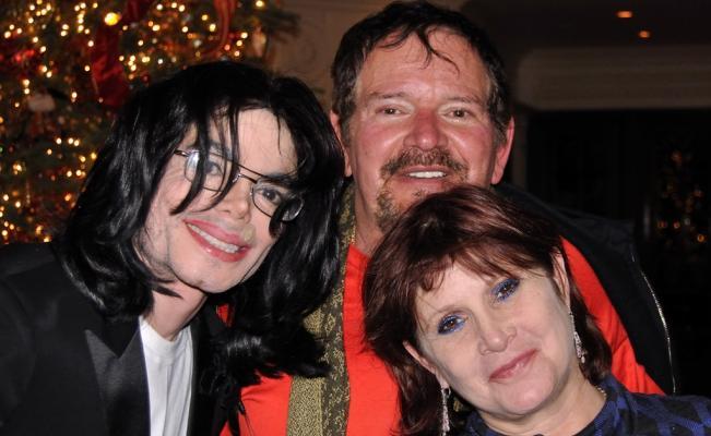 Michael Jackson, Arnold Klein y Carrie Fisher. Foto de AP