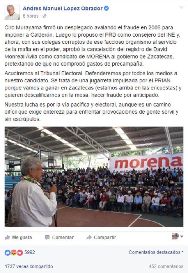 El anuncio de López Obrador donde afirma que Morena irán a la TEPJF.