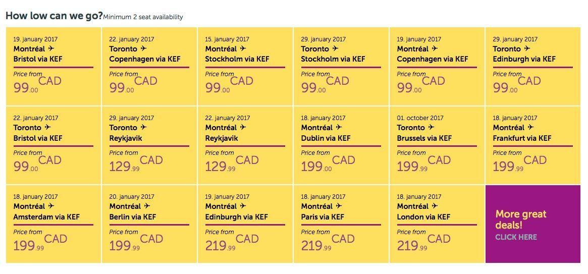 Las tarifas que ofrece WOW. Foto de WOW Air