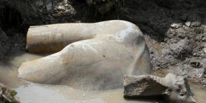 A statue workers say depicts Pharaoh Ramses II who ruled Egypt over 3,000 years was unearthed on Thursday in the Matariya area in Cairo